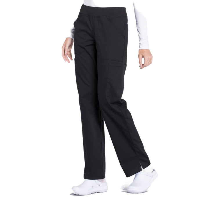 Cherokee Workwear Professionals WW170 Scrubs Pants Women's Mid Rise Straight Leg Pull-on Cargo Black 4XL