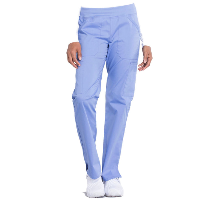 Cherokee Workwear Professionals WW170 Scrubs Pants Women's Mid Rise Straight Leg Pull-on Cargo Ciel Blue