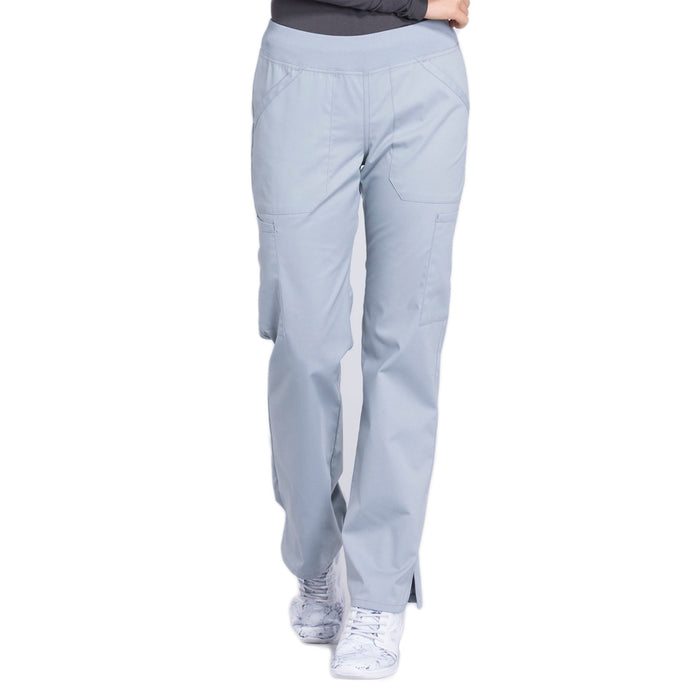 Cherokee Workwear Professionals WW170 Scrubs Pants Women's Mid Rise Straight Leg Pull-on Cargo Grey
