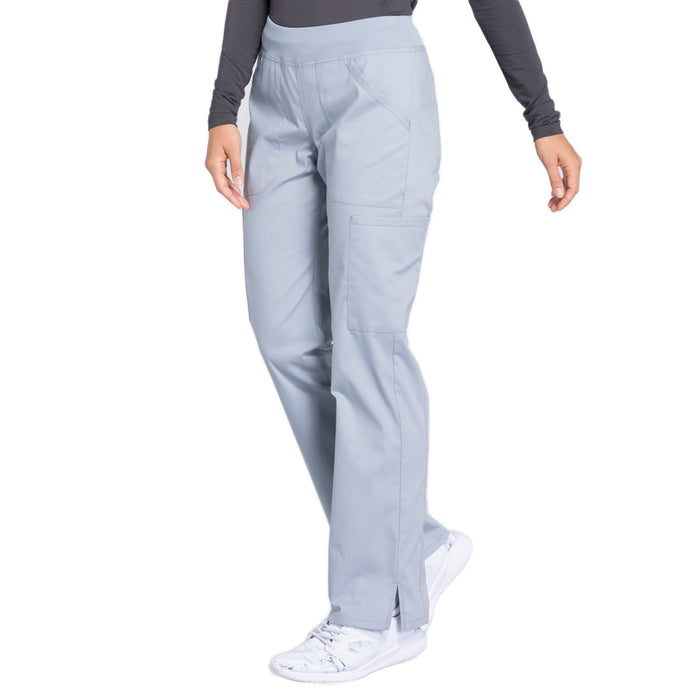 Cherokee Workwear Professionals WW170 Scrubs Pants Women's Mid Rise Straight Leg Pull-on Cargo Grey 4XL