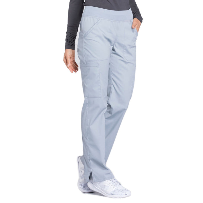 Cherokee Workwear Professionals WW170 Scrubs Pants Women's Mid Rise Straight Leg Pull-on Cargo Grey 5XL