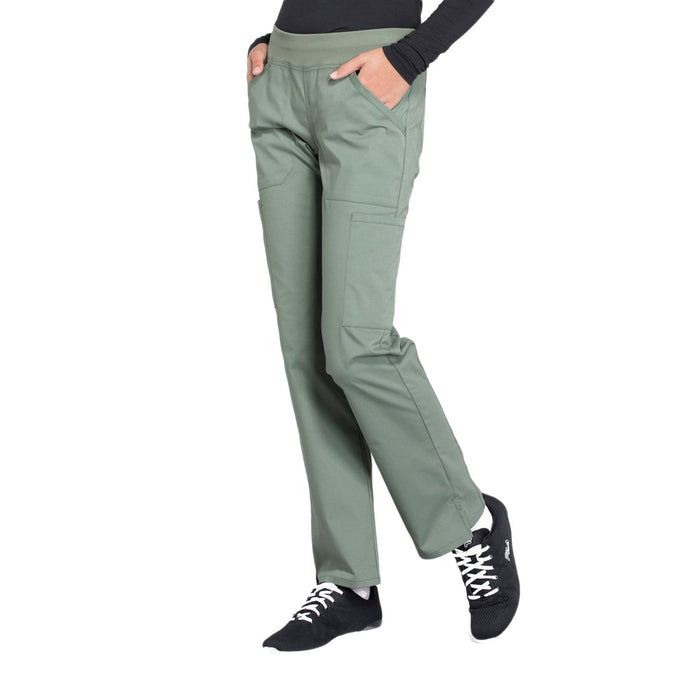 Cherokee Workwear Professionals WW170 Scrubs Pants Women's Mid Rise Straight Leg Pull-on Cargo Olive 4XL
