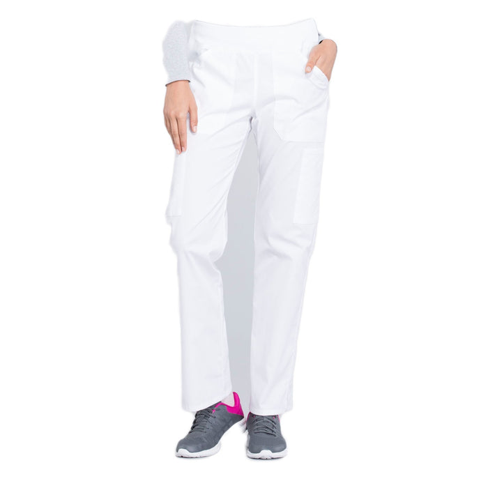 Cherokee Workwear Professionals WW170 Scrubs Pants Women's Mid Rise Straight Leg Pull-on Cargo White