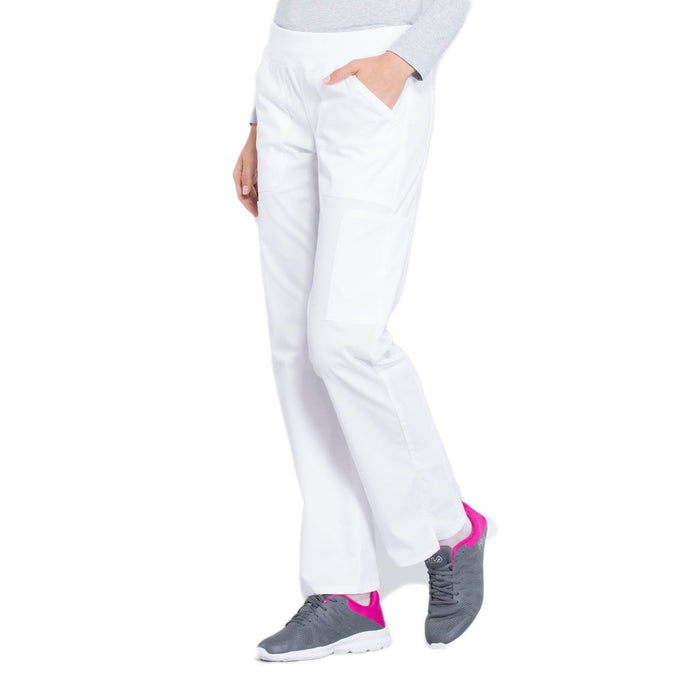 Cherokee Workwear Professionals WW170 Scrubs Pants Women's Mid Rise Straight Leg Pull-on Cargo White 4XL