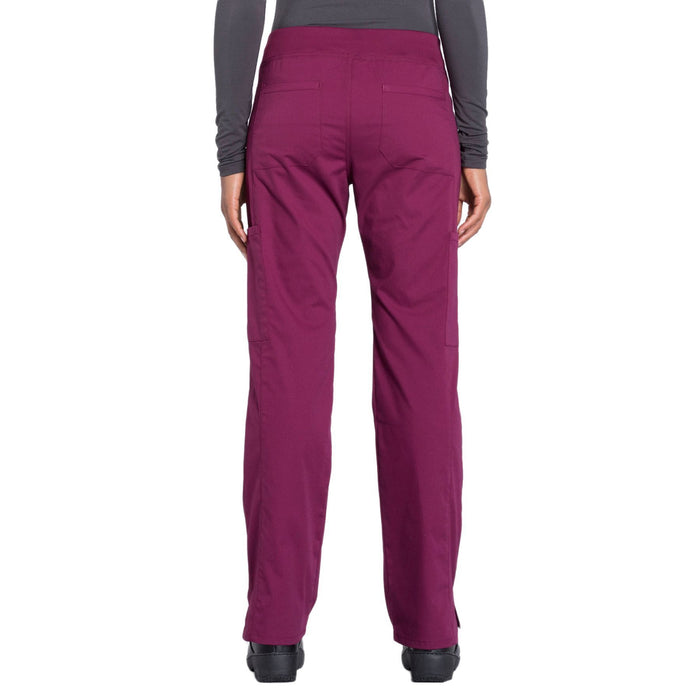 Cherokee Workwear Professionals WW170 Scrubs Pants Women's Mid Rise Straight Leg Pull-on Cargo Wine 3XL