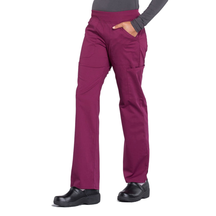 Cherokee Workwear Professionals WW170 Scrubs Pants Women's Mid Rise Straight Leg Pull-on Cargo Wine 4XL