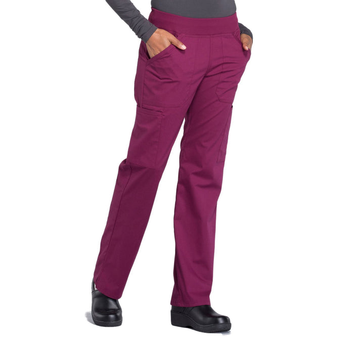 Cherokee Workwear Professionals WW170 Scrubs Pants Women's Mid Rise Straight Leg Pull-on Cargo Wine 5XL