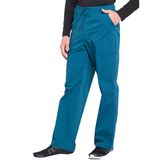 Cherokee Workwear Professionals WW190 Scrubs Pants Men's Tapered Leg Drawstring Cargo Caribbean Blue 4XL