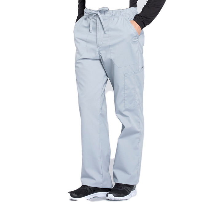 Cherokee Workwear Professionals WW190 Scrubs Pants Men's Tapered Leg Drawstring Cargo Grey 4XL