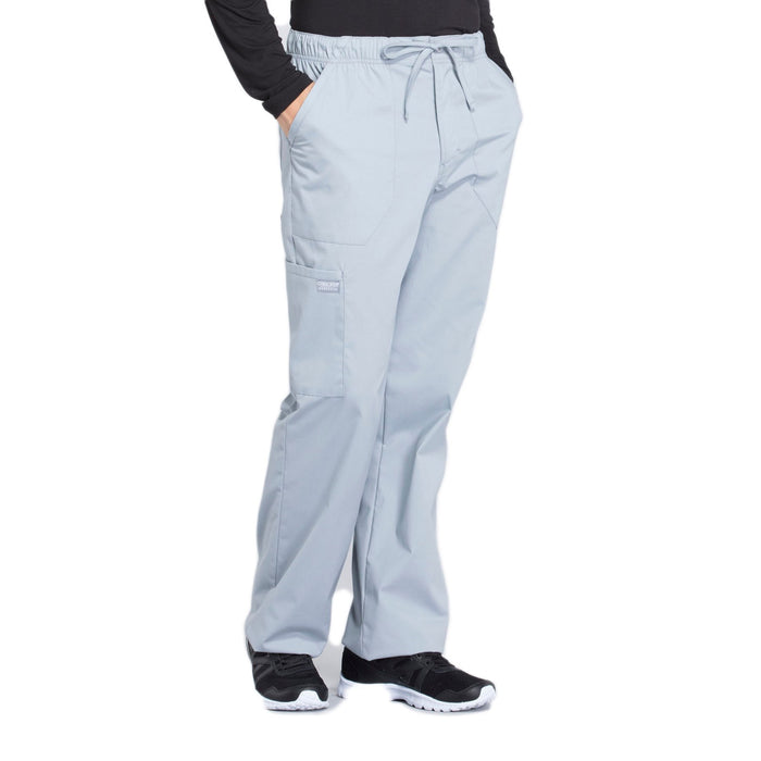 Cherokee Workwear Professionals WW190 Scrubs Pants Men's Tapered Leg Drawstring Cargo Grey 5XL