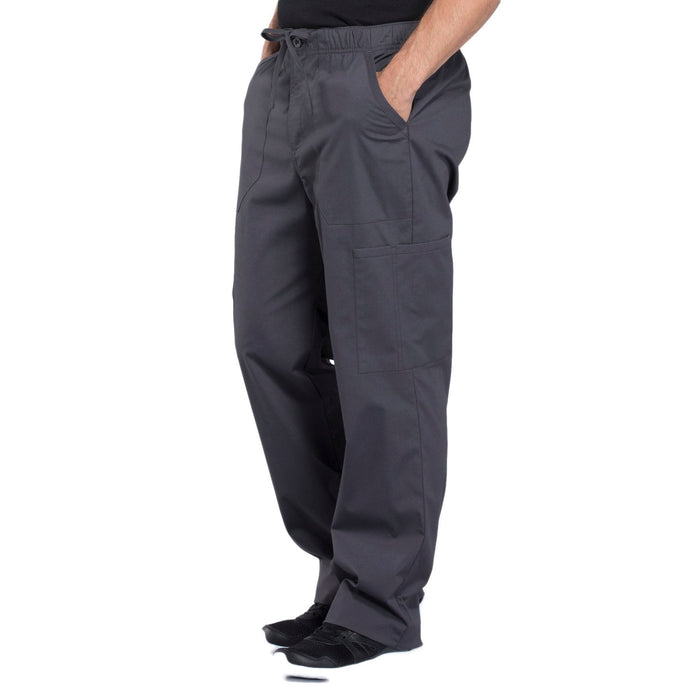 Cherokee Workwear Professionals WW190 Scrubs Pants Men's Tapered Leg Drawstring Cargo Pewter 4XL