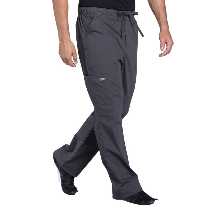 Cherokee Workwear Professionals WW190 Scrubs Pants Men's Tapered Leg Drawstring Cargo Pewter 5XL