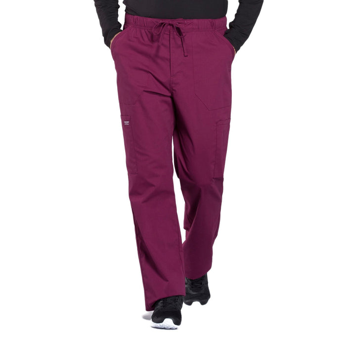 Cherokee Workwear Professionals WW190 Scrubs Pants Men's Tapered Leg Drawstring Cargo Wine