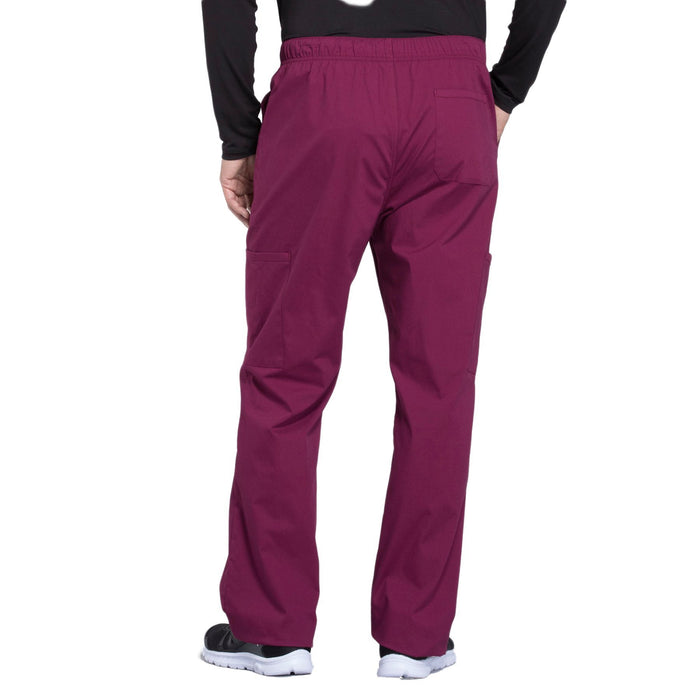 Cherokee Workwear Professionals WW190 Scrubs Pants Men's Tapered Leg Drawstring Cargo Wine 3XL