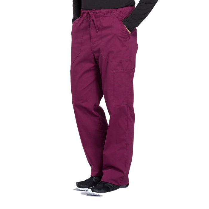 Cherokee Workwear Professionals WW190 Scrubs Pants Men's Tapered Leg Drawstring Cargo Wine 4XL