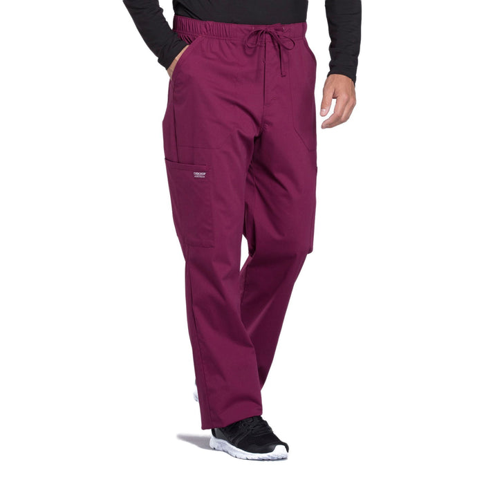 Cherokee Workwear Professionals WW190 Scrubs Pants Men's Tapered Leg Drawstring Cargo Wine 5XL