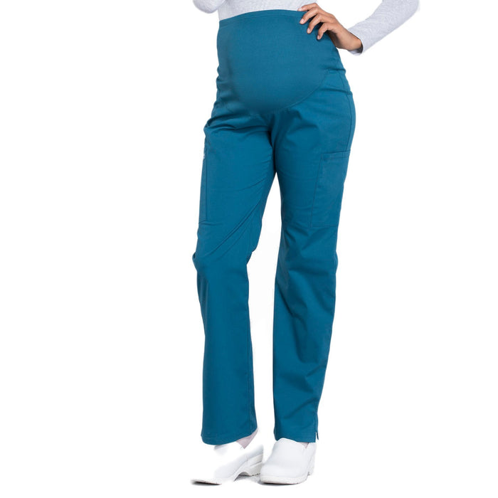 Cherokee Workwear Professionals WW220 Scrubs Pants Maternity Straight Leg Caribbean Blue