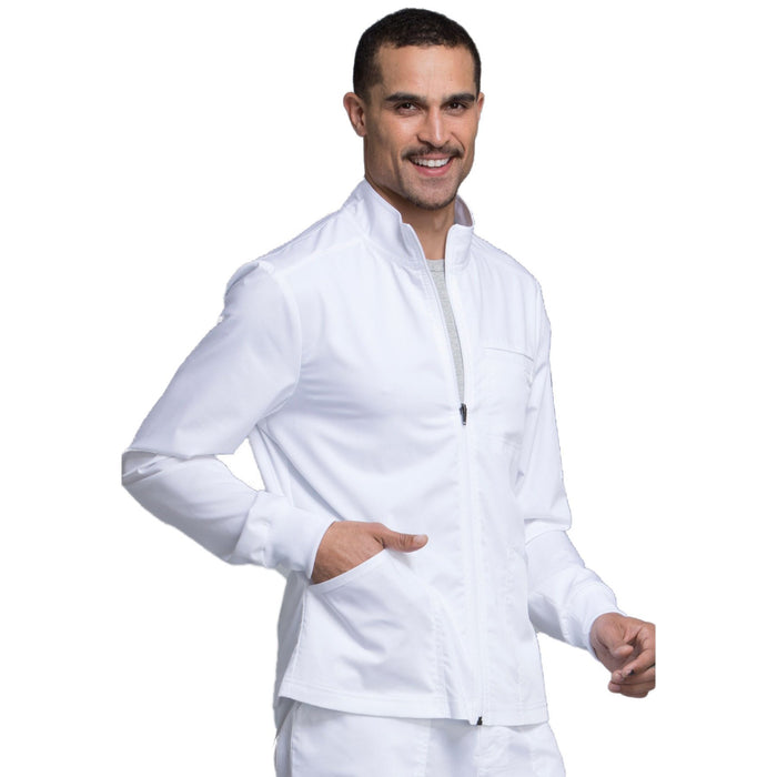 Cherokee Workwear Revolution WW320 Scrubs Jacket Men's Zip Front White 5XL