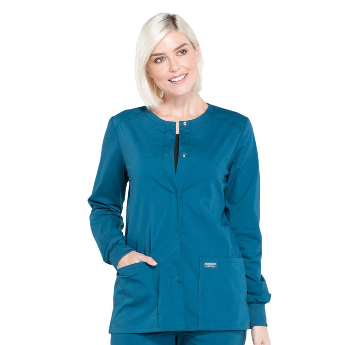 Cherokee Workwear Professionals WW340 Scrubs Jacket Women's Snap Front Warm-up Caribbean Blue