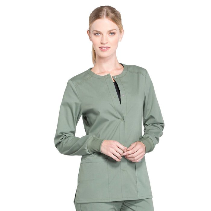 Cherokee Workwear Professionals WW340 Scrubs Jacket Women's Snap Front Warm-up Olive