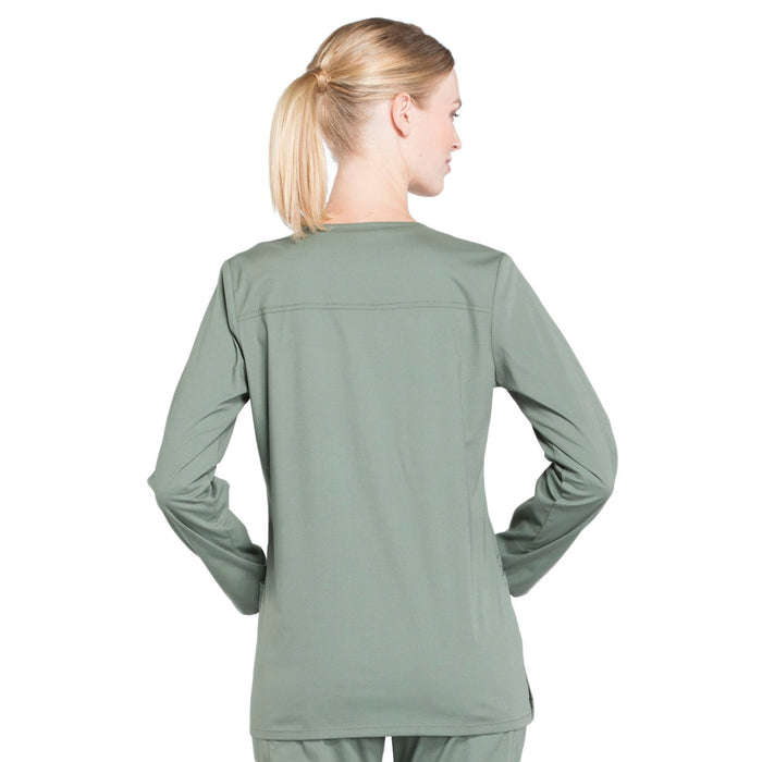 Cherokee Workwear Professionals WW340 Scrubs Jacket Women's Snap Front Warm-up Olive 3XL