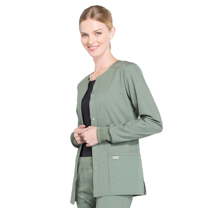 Cherokee Workwear Professionals WW340 Scrubs Jacket Women's Snap Front Warm-up Olive 4XL