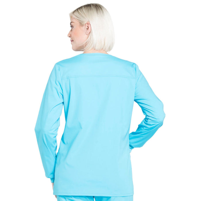 Cherokee Workwear Professionals WW340 Scrubs Jacket Women's Snap Front Warm-up Turquoise 3XL