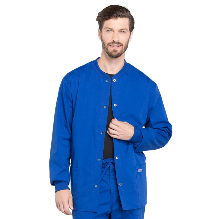 Cherokee Workwear Professionals WW360 Scrubs Jacket Men's Warm-up Galaxy Blue