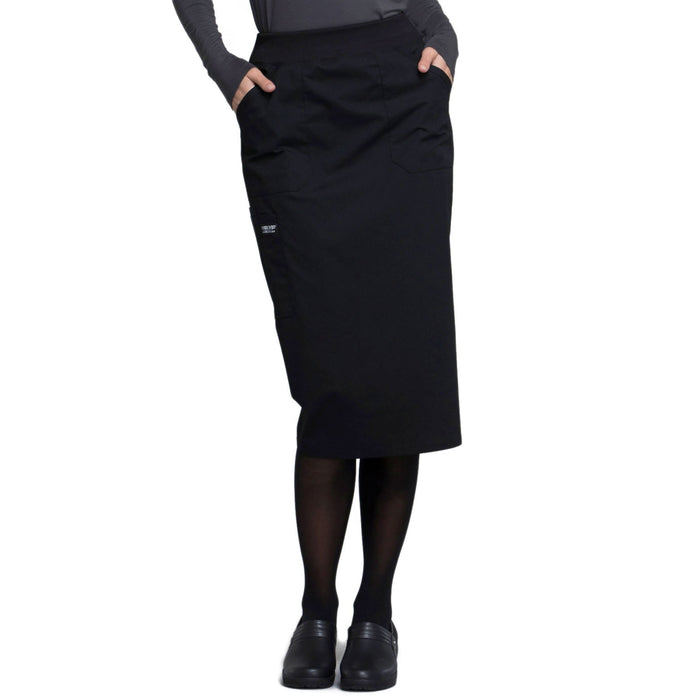 "Cherokee Workwear Professionals WW510 Skirt Women's 30"" Knit Waistband Skirt Black"