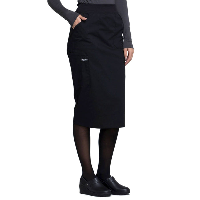"Cherokee Workwear Professionals WW510 Skirt Women's 30"" Knit Waistband Skirt Black 5XL"