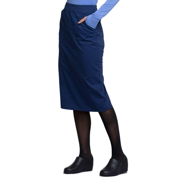 "Cherokee Workwear Professionals WW510 Skirt Women's 30"" Knit Waistband Skirt Navy 4XL"