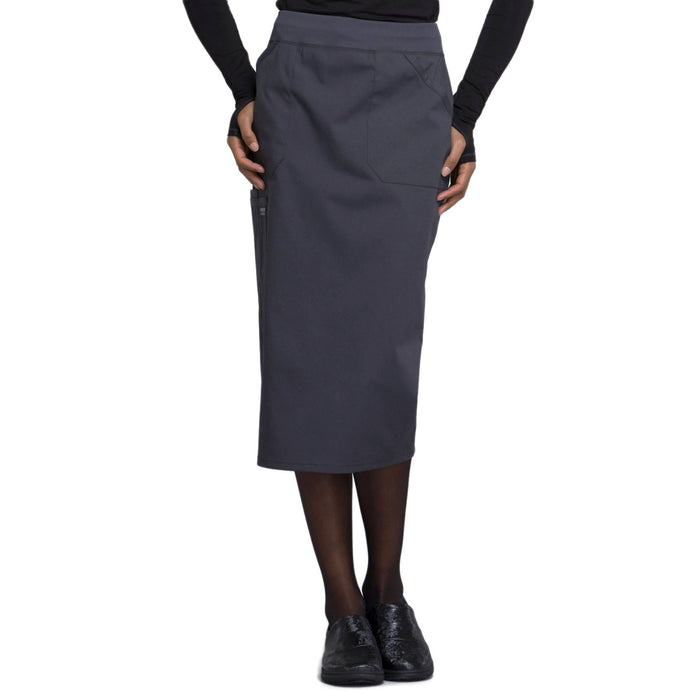 "Cherokee Workwear Professionals WW510 Skirt Women's 30"" Knit Waistband Skirt Pewter"
