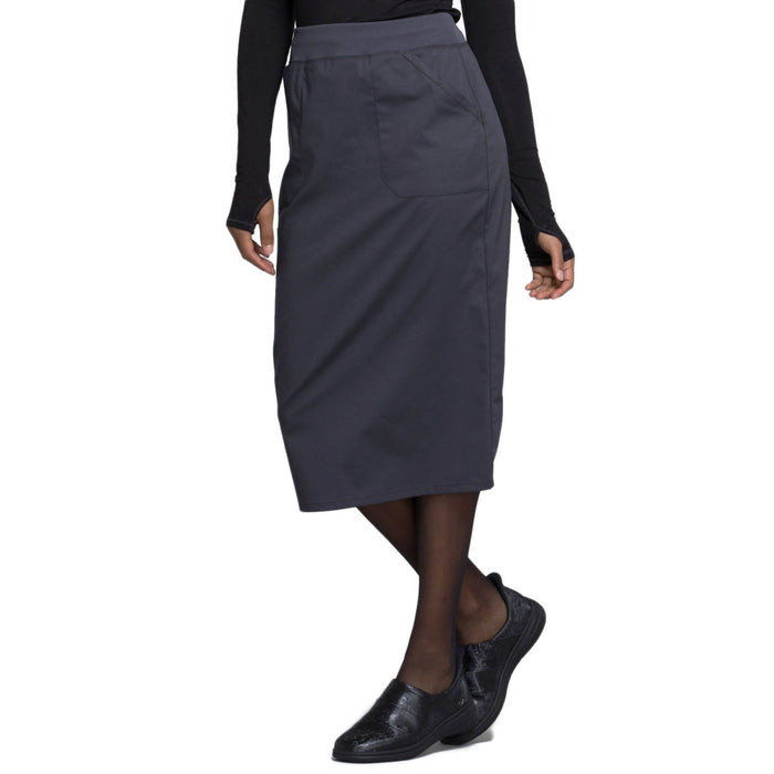 "Cherokee Workwear Professionals WW510 Skirt Women's 30"" Knit Waistband Skirt Pewter 4XL"
