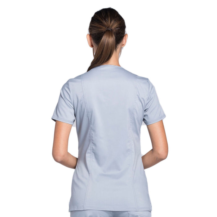 Cherokee Workwear Revolution WW610 Scrubs Top Women's Mock Wrap Grey 3XL