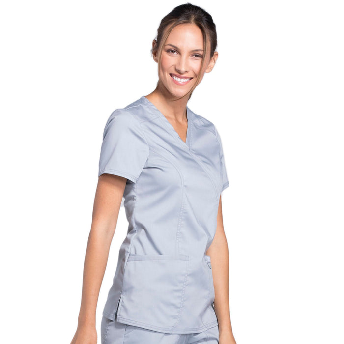 Cherokee Workwear Revolution WW610 Scrubs Top Women's Mock Wrap Grey 5XL