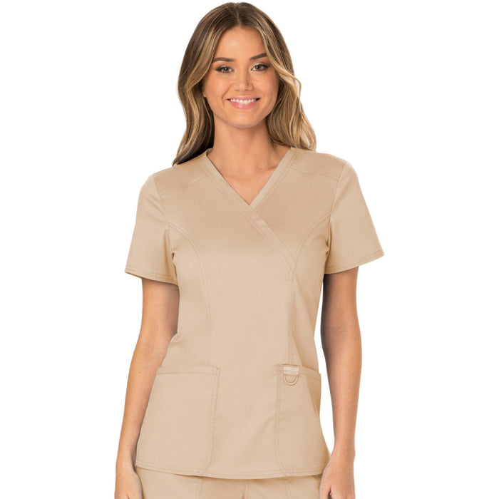 Cherokee Workwear Revolution WW610 Scrubs Top Women's Mock Wrap Khaki