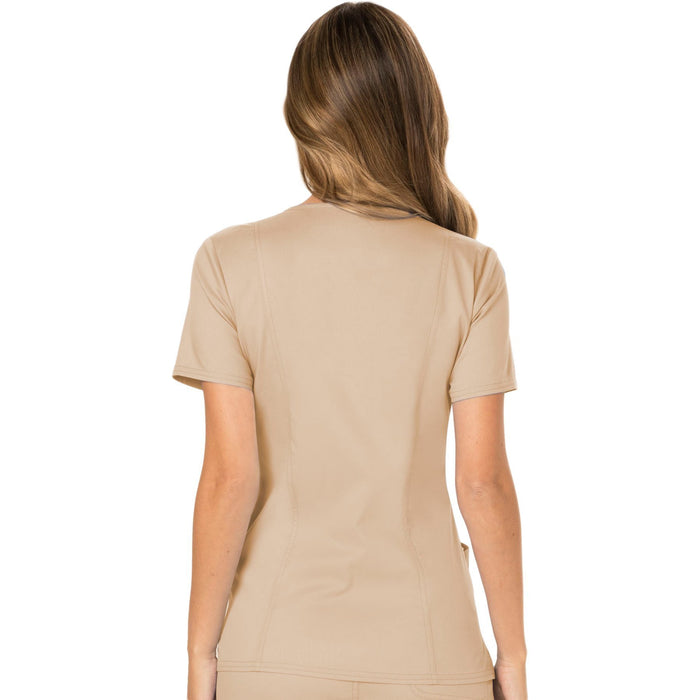 Cherokee Workwear Revolution WW610 Scrubs Top Women's Mock Wrap Khaki 3XL