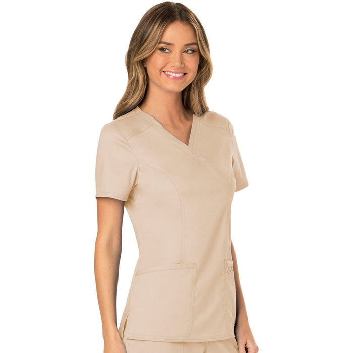 Cherokee Workwear Revolution WW610 Scrubs Top Women's Mock Wrap Khaki 5XL