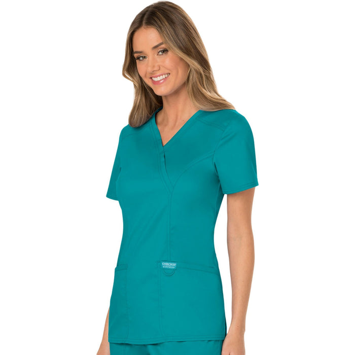 Cherokee Workwear Revolution WW610 Scrubs Top Women's Mock Wrap Teal Blue 4XL