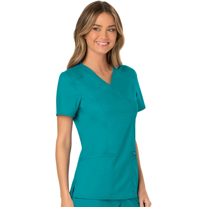 Cherokee Workwear Revolution WW610 Scrubs Top Women's Mock Wrap Teal Blue 5XL