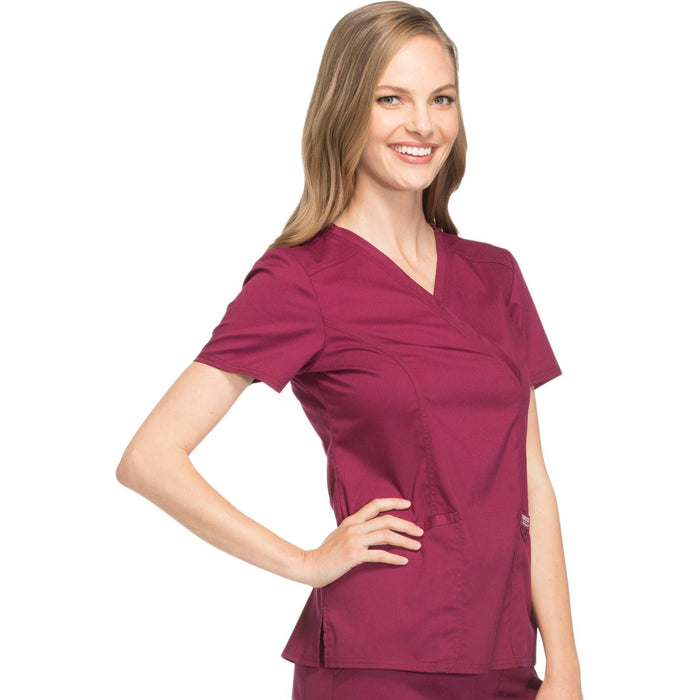 Cherokee Workwear Revolution WW610 Scrubs Top Women's Mock Wrap Wine 5XL