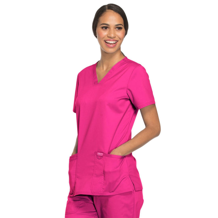 Cherokee Workwear Revolution WW620 Scrubs Top Women's V-Neck Electric Pink 4XL