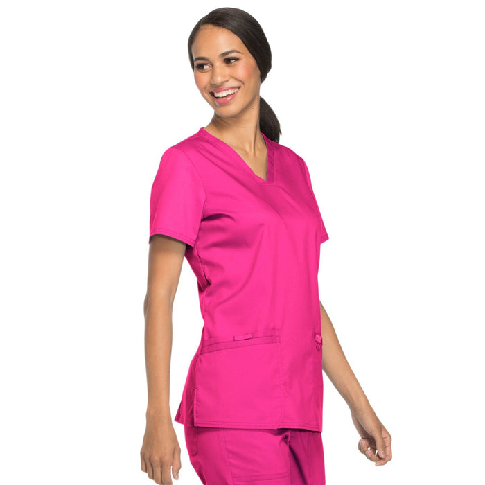 Cherokee Workwear Revolution WW620 Scrubs Top Women's V-Neck Electric Pink 5XL