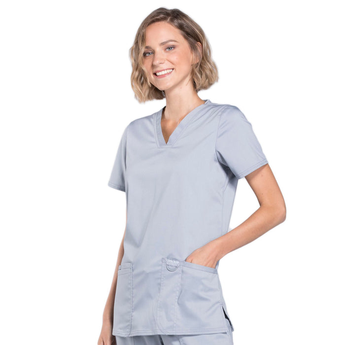 Cherokee Workwear Revolution WW620 Scrubs Top Women's V-Neck Grey 4XL