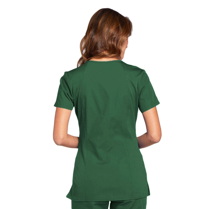 Cherokee Workwear WW645 Scrubs Top Women's V-Neck Hunter Green 3XL