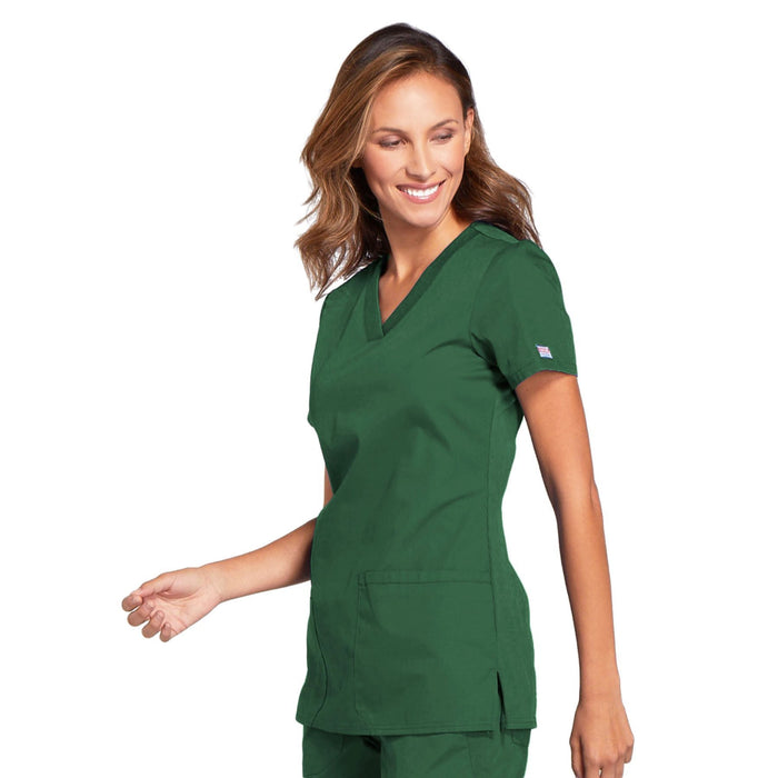 Cherokee Workwear WW645 Scrubs Top Women's V-Neck Hunter Green 4XL
