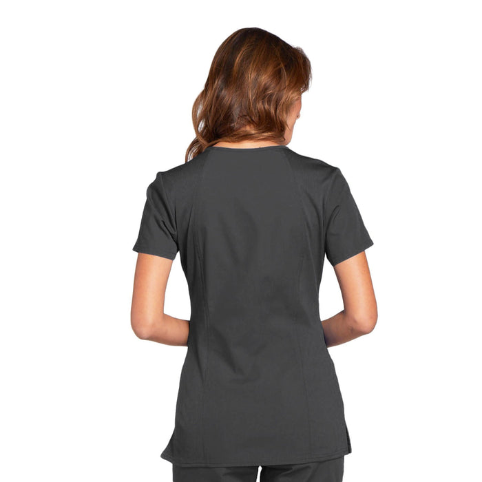 Cherokee Workwear WW645 Scrubs Top Women's V-Neck Pewter 3XL