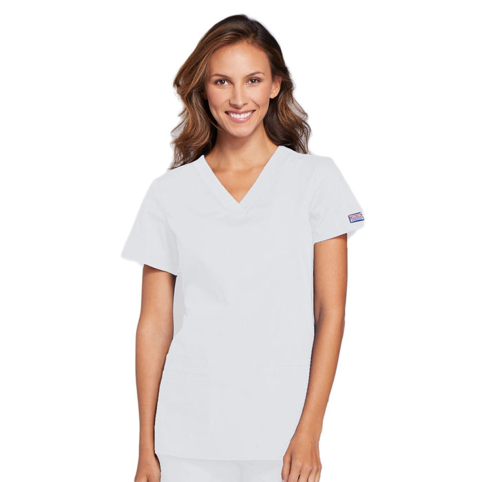 Cherokee Workwear WW645 Scrubs Top Women's V-Neck White