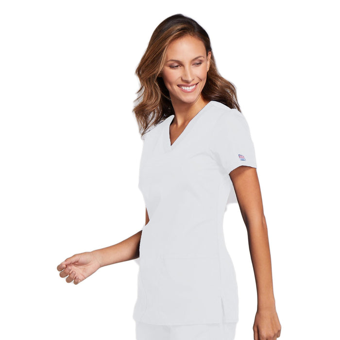 Cherokee Workwear WW645 Scrubs Top Women's V-Neck White 4XL