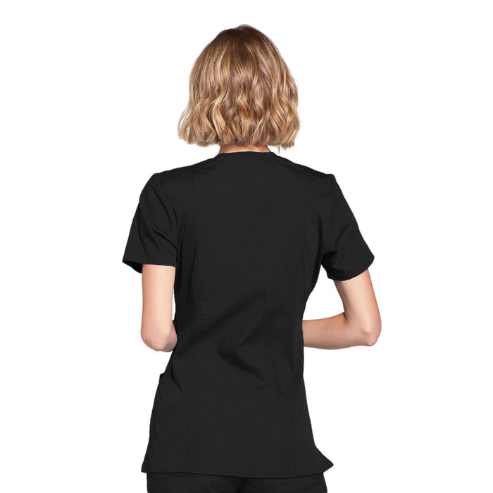 Cherokee Workwear WW650 Scrubs Top Women's Mock Wrap Black 3XL
